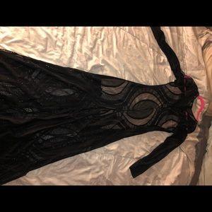 Mystic Dresses - Black long dress with nude mini dress under